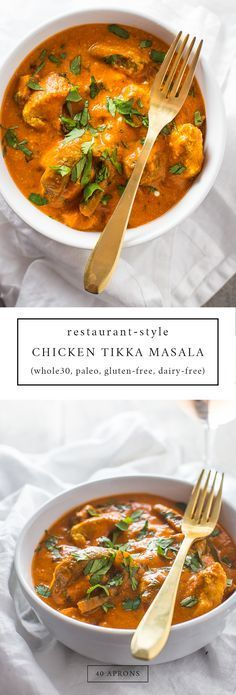 This restaurant-style chicken tikka masala will fool even the most hardcore of takeout enthusiasts. This paleo chicken tikka masala recipe is rich and creamy with tender bites of chicken, and this dish also works as a Whole30 chicken tikka masala recipe t paleo dinner ideas