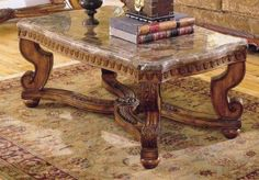 Homelegance Tarantula Cocktail Table with Marble Top