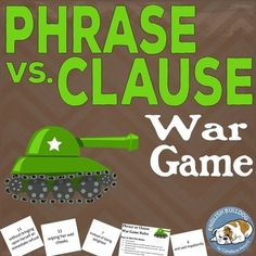 Phrase vs. Clause War Game  Editable files!  Revised in July 2016.  After I teach students how to differentiate coordinating conjunctions, subordinating conjunctions, and conjunctive adverbs, I review the differences between phrases and clauses.  This activity allows student pairs to practice making the distinction as they compare text excerpts drawn during a War style card game.
