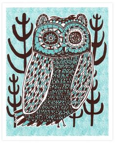 Night Owl Print Blue by Nate Duval Whimsical Owl, Owl Always Love You, Owl Print, Night Owl, Cute Owl, Illustrations Posters, Screen Printing, Illustration Art, Artsy