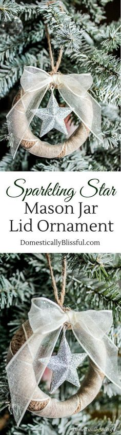 An inexpensive yet beautiful way to add rustic warmth and charm to your Christmas tree with these sparkling star mason jar lid ornaments!