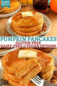 An easy recipe for gluten-free pumpkin pancakes. Fluffy pancakes that are full of pumpkin and pumpkin spice flavors. This gluten-free breakfast recipe also has a dairy-free and vegan option. Dairy Free Breakfasts, Gluten Free Recipes For Breakfast, Gluten Free Desserts, Dairy Free Recipes, Keto Recipes, Keto Breakfast Muffins, Vegan Breakfast, Vegan Desserts, Crockpot Recipes