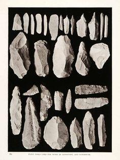 1906 Print Flint Tools Sandstone Archeology Sinai Egypt Mines Turquoise XGW4