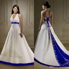 2017 Court Train Ivory and Royal Blue A Line Wedding Dresses Halter Neck Open Back Lace Up Closure Bridal Gowns Custom Made Wedd relationship wants / royal blue dress for wedding / royal blue wedding dress / blue wedding dress royal / royal blue wedding Big Wedding Dresses, Vintage Bridesmaid Dresses, White Wedding Gowns, Lace Wedding, Celtic Wedding, Wedding Blue, Modest Wedding, Wedding Vintage, Gown Wedding