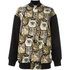 Stella Mccartney All Over Cats Embroidered Bomber ($1,290) ❤ liked on Polyvore featuring outerwear, jackets, black, bomber style jacket, embroidery jackets, cat bomber jacket, embroidered bomber jacket and long sleeve jacket