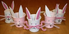 yogurt ( or Kcup) Bunnies ! easter is coming :) fill with candies, hair clips, money, mini action figures, crayons. K Cup Crafts, Bunny Crafts, Easter Crafts, Crafts To Make, Diy Crafts, Easter Ideas, Spring Crafts, Holiday Crafts, Recycling Containers