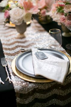 Chevron and sequin table runner and chalk style place cards   Caili Helsper and Tuan H. Bui Photography   see more on http://burnettsboards.com/2014/02/sparks-o-chalk/
