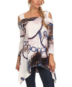 Another great find on #zulily! Blue & White Status Cutout Top - Plus Too #zulilyfinds