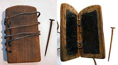 Example of a Roman diptych and stylus. Princeton University Library Graphic Arts Collection, Department of Rare Books and Special Collection.