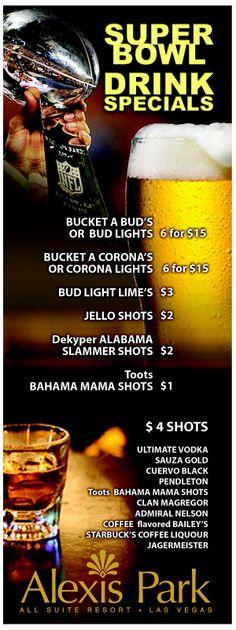 Superbowl Drinking Menu design for Alexis Park