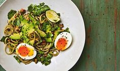 Yotam Ottolenghi's green tea noodles with lime and cardamom salsa, avocado and egg