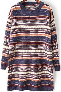 Blue Tribal Print Long Sleeve Sweater