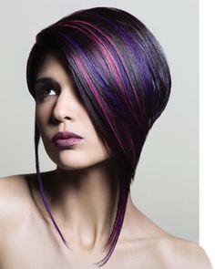Purple Hair Highlights, i want purple highlights Love Hair, Great Hair, Awesome Hair, Pixie Hairstyles, Pretty Hairstyles, Black Hairstyles, Bob Hairstyle, Bob Haircuts, Decent Hairstyle