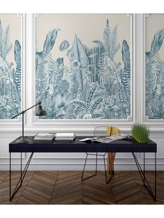 Design Made In France -Exquisite Panoramic Wall Murals For Your Next Interior Renovation papermint 10 Interior Wallpaper, Interior Walls, Interior Design, Wall Panel Design, Motif Art Deco, Cactus Wall Art, Wall Molding, Moldings, Wallpaper Panels