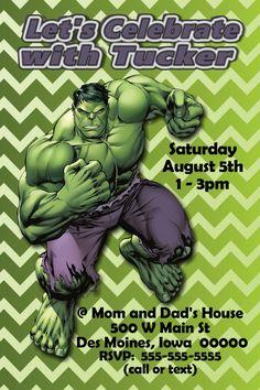 Free Printable Incredible Hulk Birthday Invitation Comics Super