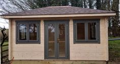 A made to measure, fantastic quality garden log cabin used as a summerhouse for parties & extra accommodation. Cabin Office, Garden Log Cabins, Garden Office, Bespoke Design, Gazebo, Shed, Outdoor Structures, Gallery, Parties
