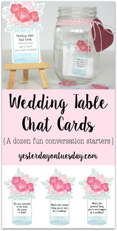 Printable Wedding Table Chat Cards | Yesterday On Tuesday
