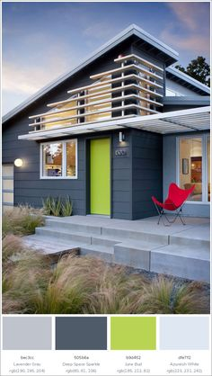 Contemporary House Exterior Color Schemes, Bedroom Ideas Best Exterior Paint Colors For Minimalist Home, Image Of Exterior Paint Combinations Ideas Cottage, Tips On Modern House Color Schemes Exterior Modern House Exterior Color Schemes, Design Exterior, House Paint Exterior, Exterior House Colors, Modern Exterior, Grey Exterior, Exterior Homes, Stucco Homes, Midcentury Exterior Products