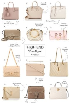 Beautiful high end designer handbags in versatile neutral colors like taupe beige blush and white featuring gucci yves saint laurent JW Anderson Givenchy and Chloe Luxury Bags, Luxury Handbags, Fashion Handbags, Fashion Bags, High End Handbags, Handbags On Sale, Purses And Handbags, Bag Sewing, Yves Saint Laurent