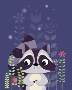 Fuchs Illustration, Cute Illustration, Raccoon Illustration, Nursery Prints, Nursery Wall Art, Motif Jungle, Wallpaper Fofos, Forest Animals, Cute Images