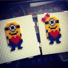 Minions hama perler beads by Hama Beads Design, Diy Perler Beads, Perler Bead Art, Pearler Beads, Fuse Beads, Minions, Pearler Bead Patterns, Perler Patterns, Minion Valentine