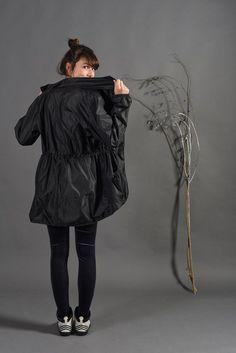 Raincoat jacket for Women, black nylon designed windbreaker, water resistant lightweight fabric,bike accessories, valentine gift for her #RaincoatsForWomenShape