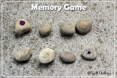 10 DiY outdoor games even kids can make, including checkers, tic tac toe, & more. The bonus is that these are all games you can make with rocks and stones! Preschool Camping Activities, Outdoor Games For Preschoolers, Outdoor Games For Kids, Nature Activities, Camping Games, Camping Theme, Outdoor Fun, Preschool Crafts, Outdoor Activities