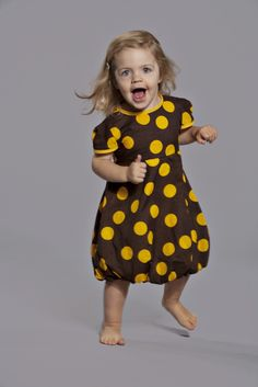 Puffi Dress- Brown/Yellow