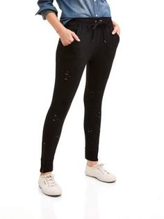 e55468c12bc980 New York Laundry Athleisure Womens Distressed Pant Jogger with Zipper  (SIZES S-3X AVAILABLE)