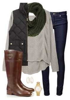 """bundled up"" by tex-prep ❤ liked on Polyvore featuring Naked & Famous, Helmut Lang, even&odd, J.Crew, Tory Burch, Kendra Scott and Kate Spade"