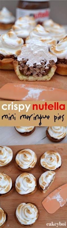 Crispy Nutella Mini Meringue Pies Nutella Deserts, Nutella Recipes, Dessert Cake Recipes, Dessert Drinks, Lattice Pie Crust, Mini Meringues, Meringue Pie, Moist Cakes, Chocolate Cookies