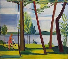 LOUISA MATTHIASDOTTIR Maine, Girl with Bicycle II  1976  oil on canvas  54 x 62 inches