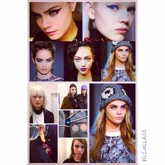 Makeup inspiration from the AW14 catwalks featuring Cara Delevigne for Caroline Oates new collection photoshoot.