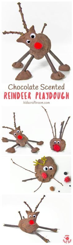 CHOCOLATE SCENTED REINDEER PLAY DOUGH is such a fun Christmas sensory play activity for kids. A no-cook play dough recipe