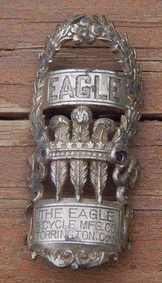 1899 The Eagle Bicycle MFG Torrington Conn. Bicycle Head Badge Emblem Antique