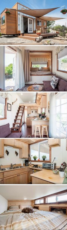 The Zen Cottage: a SoCal tiny house with a comfortable, modern style Tiny Cottages, Small Houses, Little Houses, Tarp Shade, Zen House Design, Porch Awning, Front Porch, Zen Interiors, Cottage Interiors