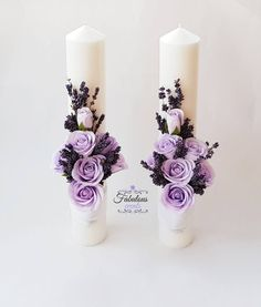 Baby Wedding, Wedding Sets, Wedding Unity Candles, Pillar Candles, Flower Decorations, Wedding Decorations, Contemporary Flower Arrangements, Baptism Centerpieces, Forever Flowers