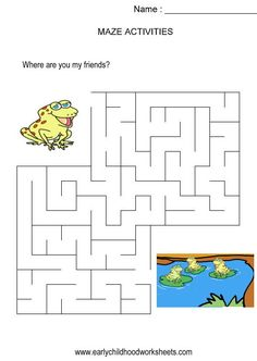 Frog to friends maze (kids activity, visual skills, hand-eye coordination)