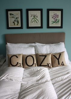 Scrabble pillows might out me as a nerd, but when I get married these will be spelling out my last name somewhere in the house.