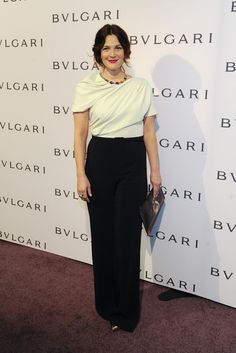 So happy to see Drew Barrymore in our MaxMara jumpsuit at the BVLGARI celebration of Elizabeth Taylor's jewelry from BVLGARI!