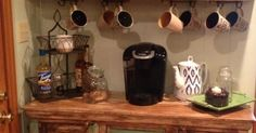 my mom made an at home coffee and tea bar at her house | Love you Latte | Pinterest | My mom, Coffee maker and Offices