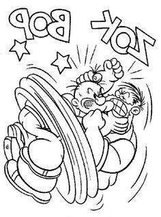 Popeye Kleurplaten voor kinderen. Kleurplaat en afdrukken tekenen nº 13