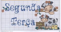 """Ponto cruz e crochê...Made in Portugal: Semaninha """"Vaquinhas"""" em Ponto Cruz"""
