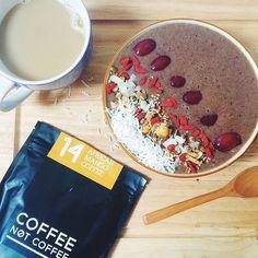 Follow us on Instagram @coffeenotcoffee www.coffeenotcoffee.com.au African Mango Coffee and smoothie bowl