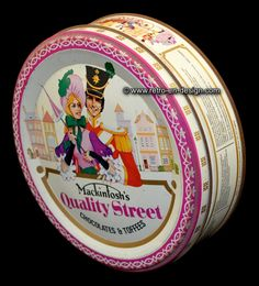 Round vintage tin drum, Mackintosh's Quality Street Quality Street. The original round tin candy drum by Mackintosh (chocolates & Toffees).   Height: 5,5 cm.  Diameter: 18,5 cm.  http://www.retro-en-design.co.uk/a-46501362/tins/round-vintage-tin-drum-mackintosh-s-quality-street/