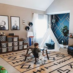 Playroom Goals. Plus, How Amazing Is That DIY Geometric Accent Wall?! Image