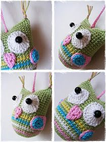 Fizule71: Háčkovaná sovička Crochet Animals, Diy And Crafts, Crochet Earrings, Christmas Ornaments, Holiday Decor, Sweet, Home Decor, Tatoo, Totes
