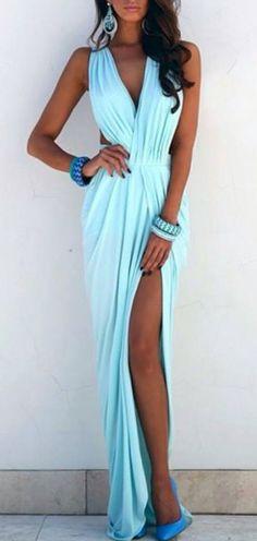 Blue dress.