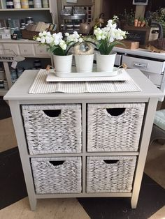 """One of my favorite colours....""""Bedford"""" with a wash of """"Casement"""" on the drawer fronts giving it a more """"beachy"""" look."""