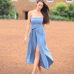 Blue Strapless Dress by By Johnny  #whiterunway #bluedress #bluebridesmaid…